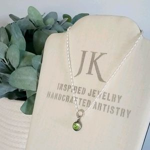 Green Stone / Pearl tone Necklace by Jewel Kade